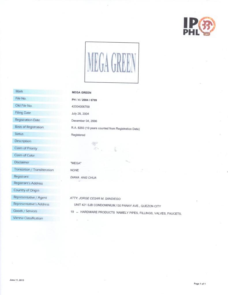mega green certificate copy